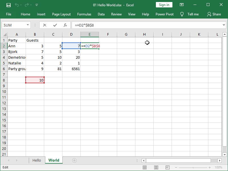 excel absolute cell reference