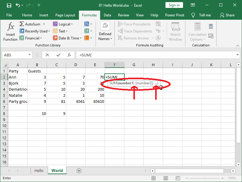 excel functions in sheet cells