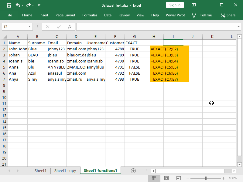 excel text functions exact