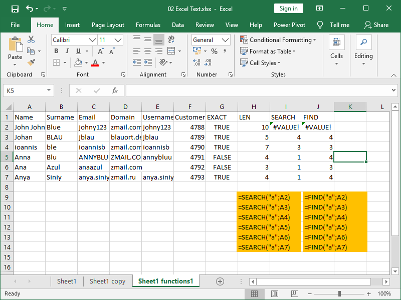 excel text functions search find
