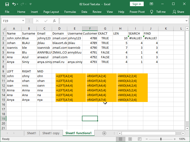 excel text functions left right mid