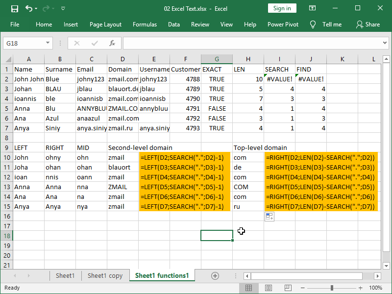 excel text functions left right example