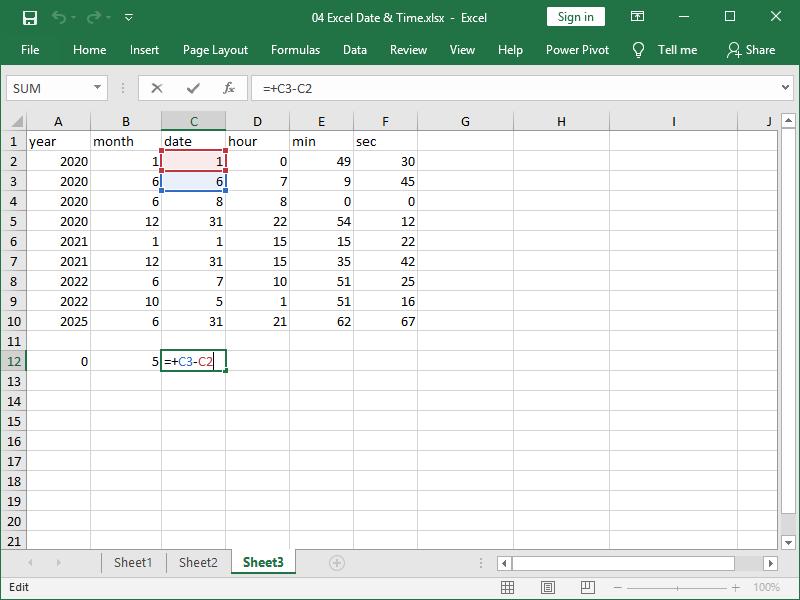 excel date time integer number