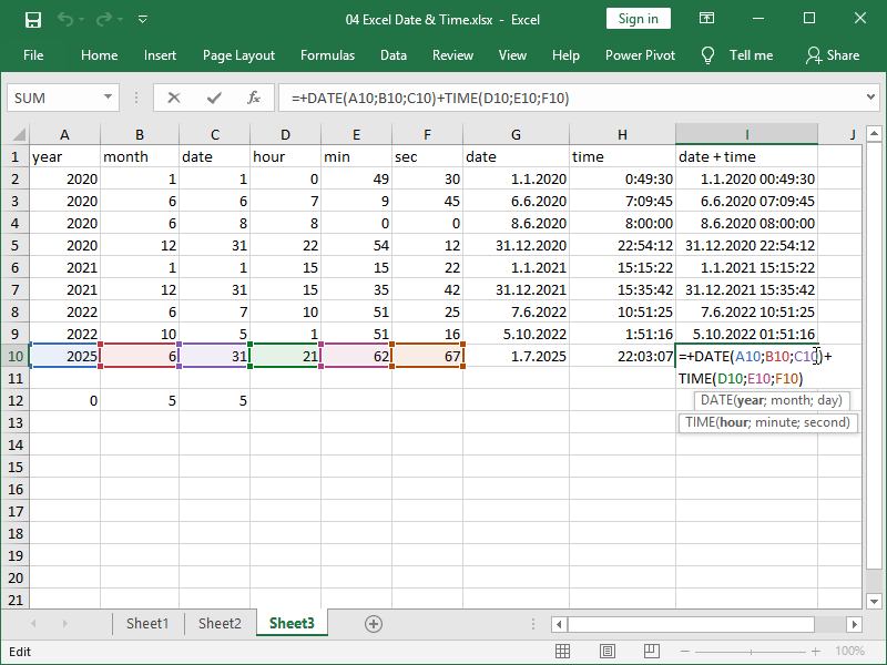 excel date time function