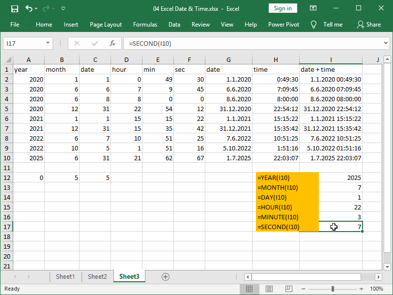 excel year month day hour minute second function