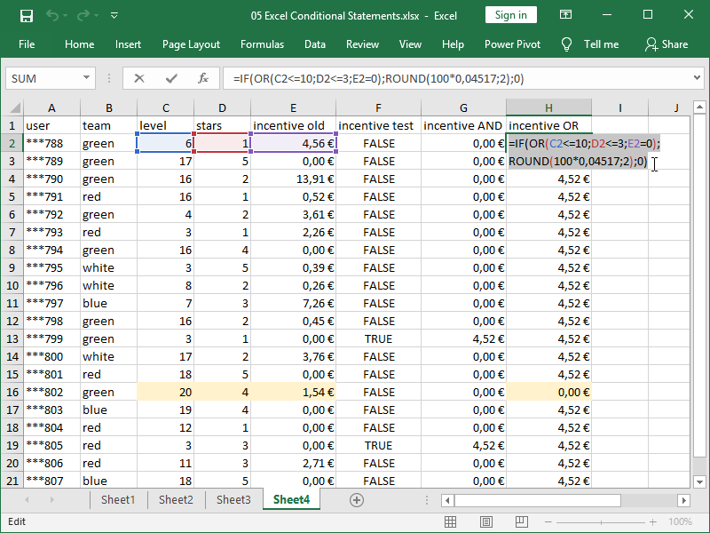 excel if function nested or function