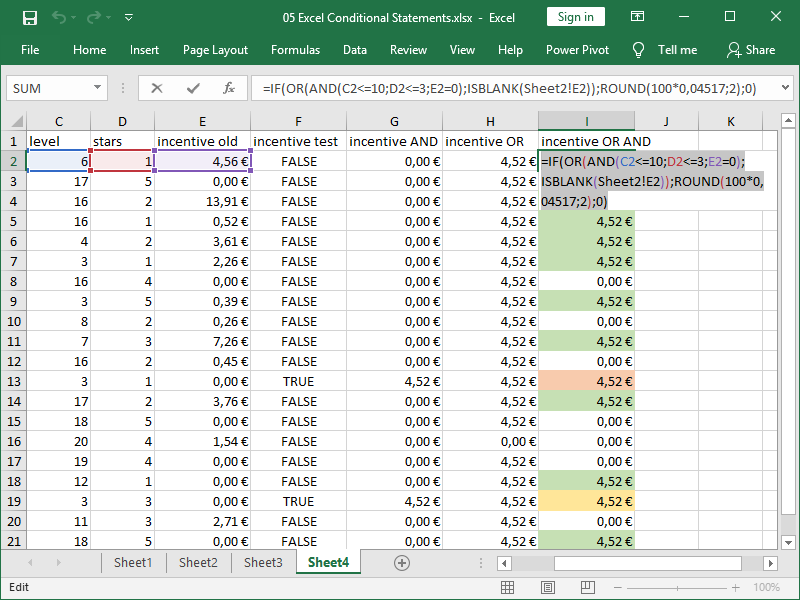 excel if function nested or function nested and function