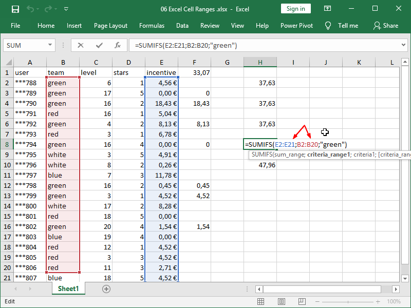 excel sumifs function syntax range 2