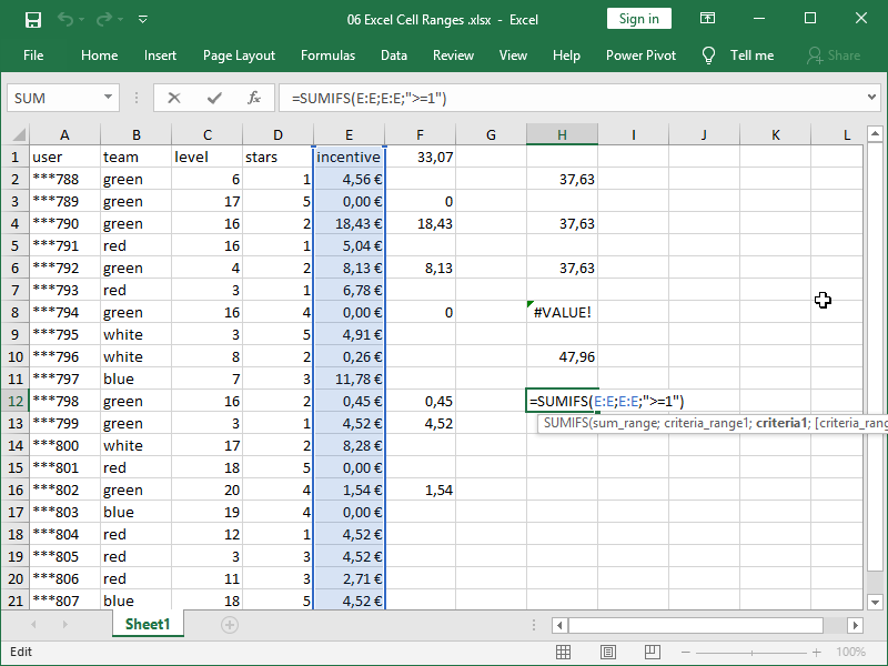 excel sumifs function syntax range sum is criteria