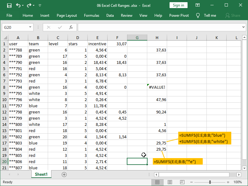 excel sumifs function partial match asterisk