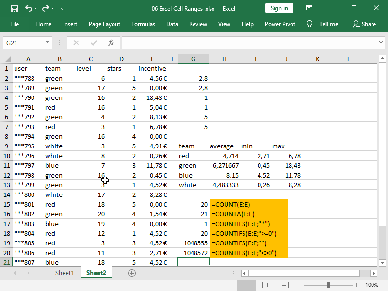 excel countifs function one criteria