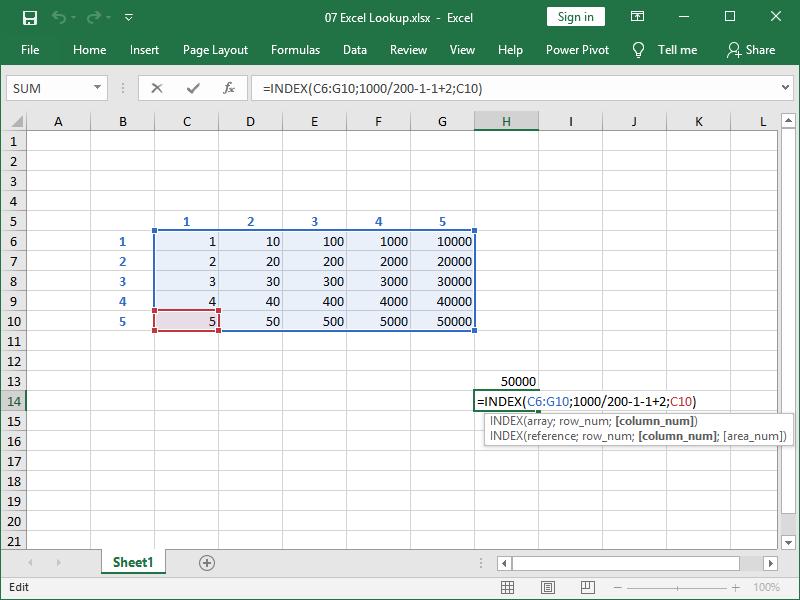 excel index function strange row column