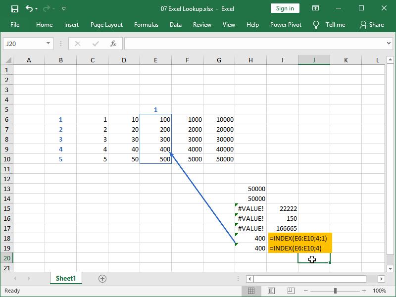 excel index single column array