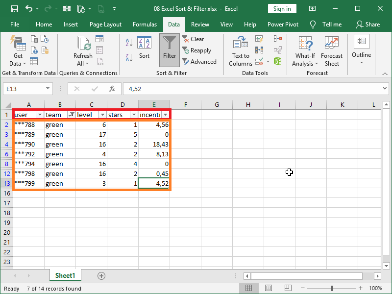 correctly filtered non continuous data