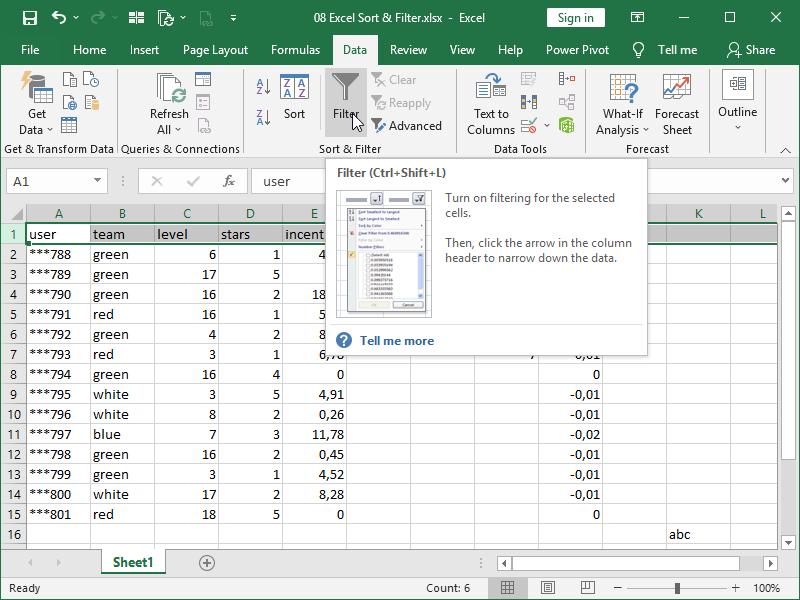 filtered non continuous data columns