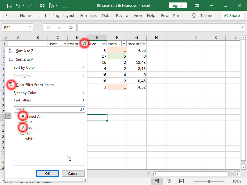 excel text filter options