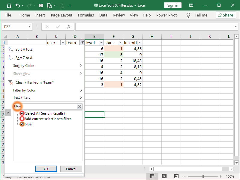 excel search in filter