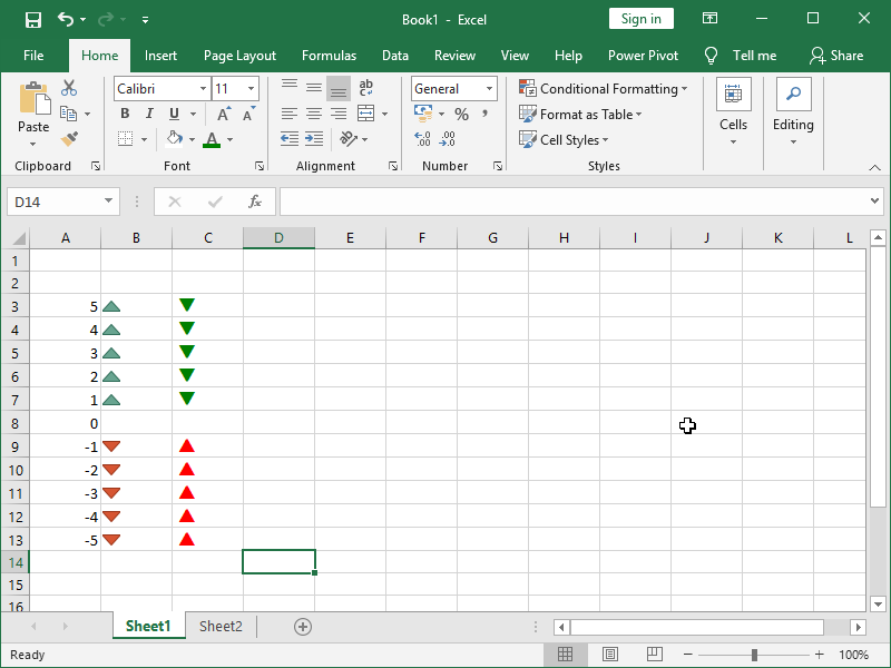 conditional formatting green arrow down red arrow up