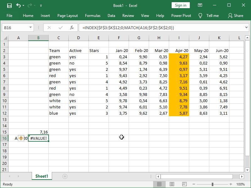 multi-dimensional table index match return new