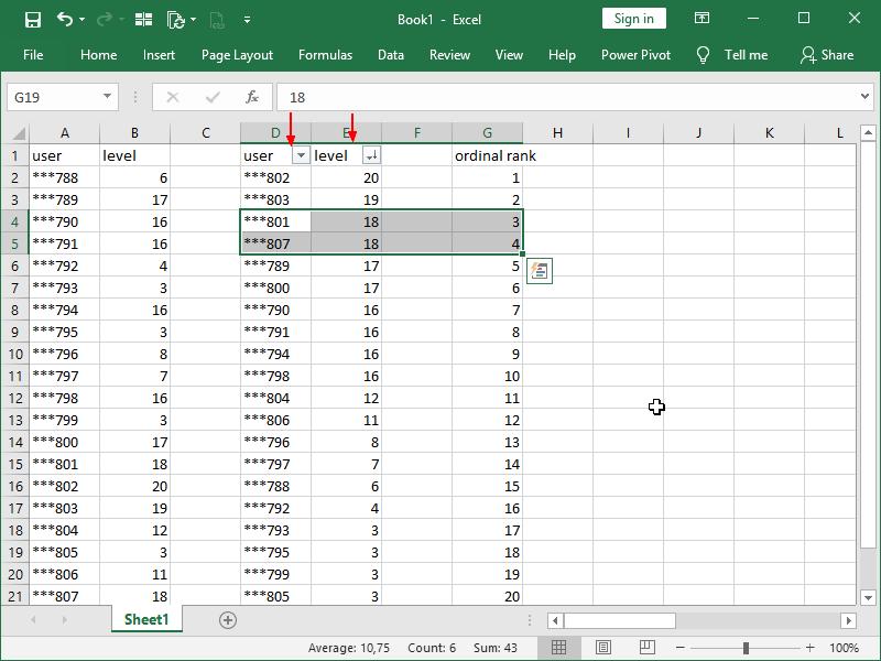 ordinal rank in Excel