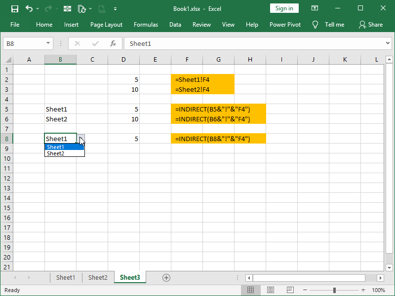 INDIRECT function sheet from a menu
